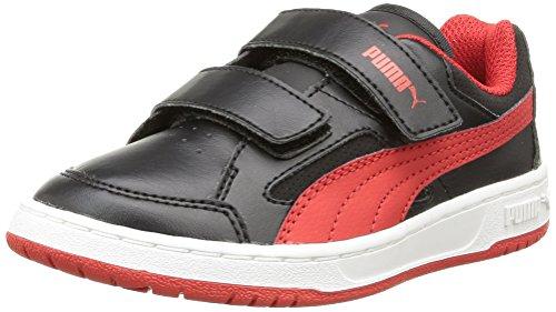 Puma  Puma Rebound v2 Lo Kids, Baskets hautes mixte enfant Noir (Black/High Risk Red)