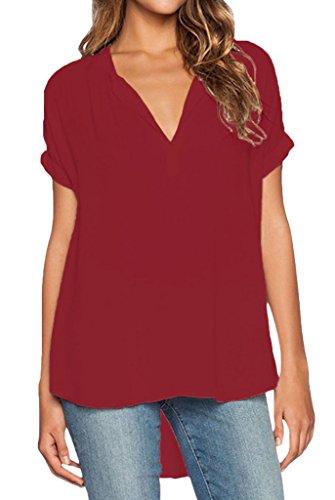 Bigood Femme T-shirt Chiffon Blouse V Col Chemise Asymétrie Uni Vin Rouge
