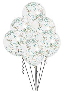 Unique Party-49615 Paquete de 6 globos confetti, Multicolor, 30 cm (49615