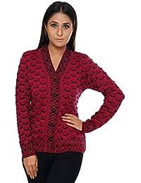 Perroni Women's Cardigan/Sweater Winter (Large, Maroon)