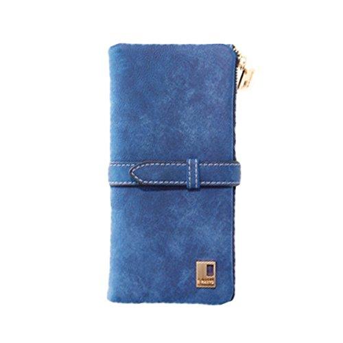 D9Q Frauen Weinlese Bi fold Reißverschluss Kordelzug Nubukleder Lange Handtasche Tasche Wallet !! blau