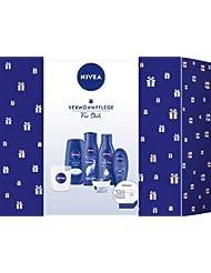 NIVEA Original Duft Geschenkset, Pflegeset für Frauen mit Pflegedusche, Pflegeshampoo, Body Milk, Hand Creme, Care Creme und Duftkerze, Weihnachtsgeschenke Set mit dem Duft der NIVEA Creme