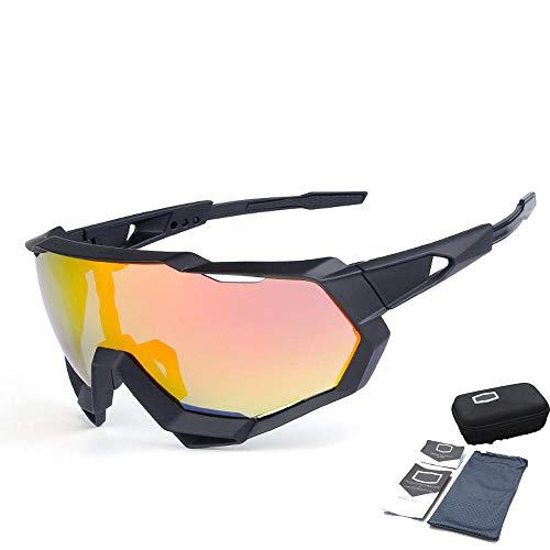 YX Glasses Herren Sonnenbrille Polarized Classic Retro Sonnenbrille Herren UV400 Schutzmontagespiegel Winddicht Sportspiegel Für Alle Gesichtstypen Geeignet Matte Black Frame + Bright red