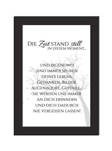 Wandbild Trauer/Die Zeit stand still/schönes Andenken/inklusive Bilderrahmen/Brillander Laserdruck auf hochwertigem Papier/DIN A4 Größe