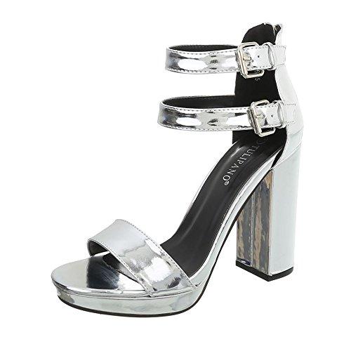 Ital-Design High Heel Sandaletten Damen-Schuhe Pump Heels Reißverschluss Sandalen & Silber, Gr 40, K6L7267-5-