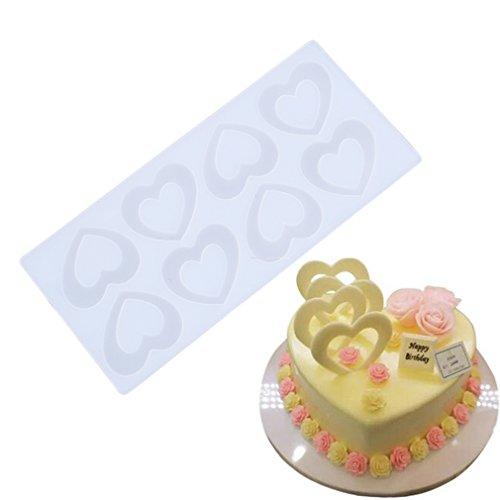 ODN DIY Herz Schokolade Silikonform Deko Keks Kuchen, Muffin Pfanne Tools für Hochzeit Geburtstag Party (Heart)