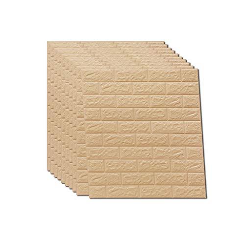 3D Wall Paper 10 Packs Brick Wall Stickers selbstklebende Panel Aufkleber PE Tapete Wandpaneele für TV Wände Sofa Hintergrund Wand Dekor 5,4 Quadratmeter 8 Farbe ( Farbe : Beige , größe : 10 Pack ) - Keramische Wand-panel