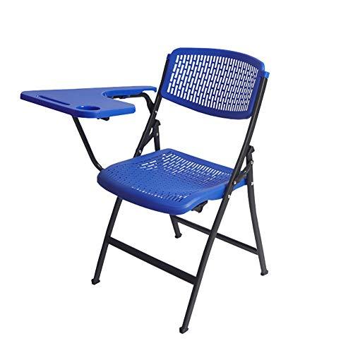 Esszimmerstühle YXX Klappstuhl aus Kunststoff mit Schreibplatte, Business Meeting Training Armless Rückenlehne, Tragfähigkeit: 300 £ (Farbe : Blau) -