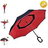 Regenschirm, AIGUMI Innovative Winddichtes Regenschirm umge Folding Double Layer Sunblock Umwelt Bumbershoot(Rot/Schwarz)