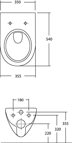 Keramag Renova Rimfree Wand-WC Tiefspüler, 1 Stück, weiß, 03981 9 - 3