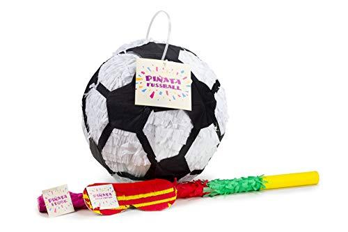 Trendario Fußball Pinata Set, Pinjatta + Stab + Augenmaske, Ideal zum Befüllen mit Süßigkeiten und Geschenken - Piñata Fußball für Kindergeburtstag Spiel, Geschenkidee, Party, Hochzeit