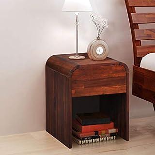 Festnight Nachttisch | Holz Nachtschrank | Elegant Nachtkommode | Schlafzimmer Beistelltisch | Massivholz Akazie