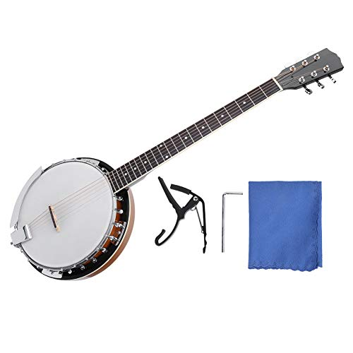 Jacksking Banjo-Instrument, 6-saitiges Banji-Instrument Sapele PVC Surface Banjo mit ätherischem Klang für Banjo Player