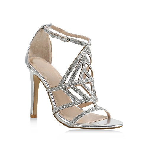 Stiefelparadies Damen Sandaletten High Heels Strass Cut-Outs Stilettos Party Schuh 159606 Silber 41 Flandell