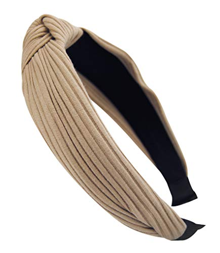 axy HR34 Stoff Haarreif mit Schleife-Vintage-Wunderschön Stirnband Haarschmuck (Beige)