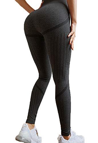 FITTOO Leggings Sin Costuras Mujer de Alta Cintura Yoga Elásticos y Compresivo Fitness Negro-2 Large (Deportiva De Ropa Dama)