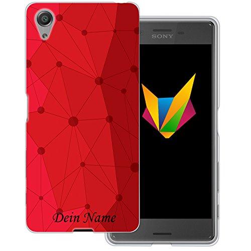 Mobilefox Grafik mit Namensdruck transparente Silikon TPU Schutzhülle 0,7mm dünne Handy Soft Case für Sony Xperia X Grafik Atomium Rot