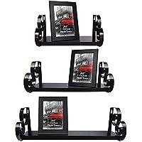 UMI Essentials Floating Shelves Wall Shelf Set Includes 6x4 Photo Picture Frames, Black, 3 Pack