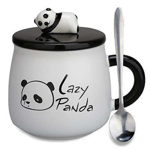 Keramik-keramik-tasse (Keramik tasse Geschenke–Panda 3D Geburtstag Weihnachtsgeschenk Kaffee Tee Tassen mit Deckel und Löffel für besondere Freunde, Mutter, Mädchen, Kinder Lazy Panda)