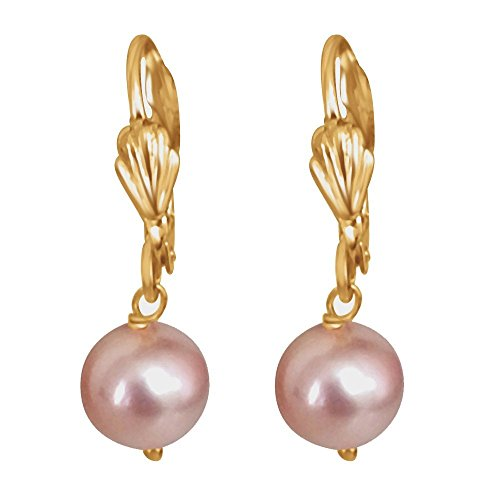 Suratdiamond Shell Pearl & Gold-Plated Pink Dangle & Drop Earrings For Girls  available at amazon for Rs.149