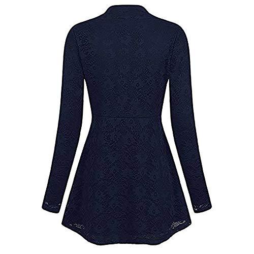 Honestyi Frauen beiläufige Plus Größen-V-Ansatz Feste Spitze-Oberseiten-Lange Hülsen-Hemd-Bluse Frauen große einfarbige Spitze Langarm Top(Marine,L) -