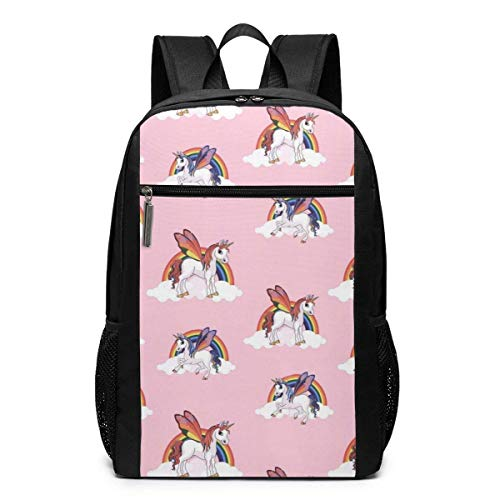 TRFashion Rucksack Magical Rainbow Unicorn Laptop Computer Backpack 17 Inch Stylish Casual Travel Daypack Laptop Bag Schoolbag Book Bag for Men Women Black - Spade Kate Notebook-tasche