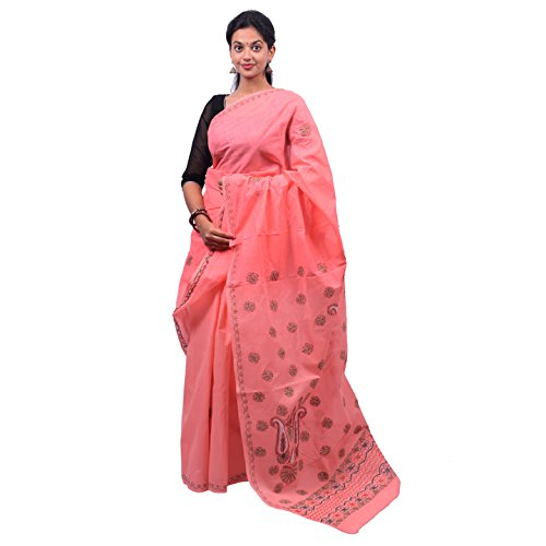 BDS Chikan Women's Lucknow Chikan Gajari Cotton Saree with Green and Maroon...