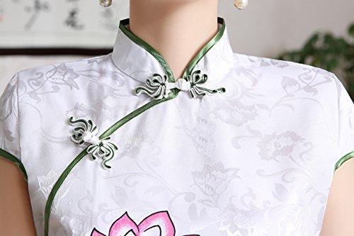 Luck Robe Chinois/Cheongsam Bouton Chinois Motif Lotus Coton Blanc