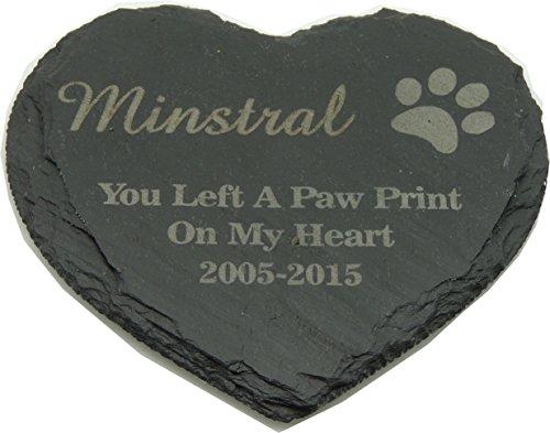 Personalised Engraved Natural Slate Heart, Pet Slate Memorial Plaque, Pet Grave Marker