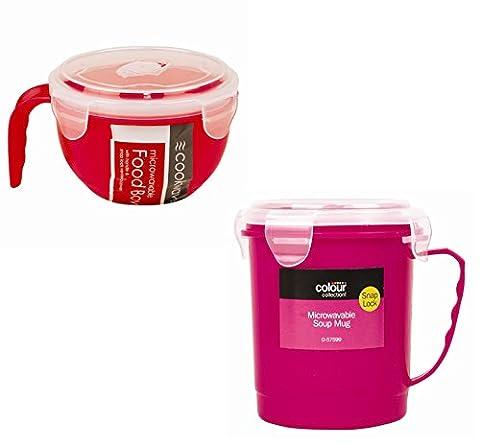 Ensemble 2pièces Bol et tasse à soupe Passe au micro-ondes Pink & Red