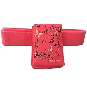 Insulinpumpe Universal Tasche mit Gürtel -Rosa Schmetterling