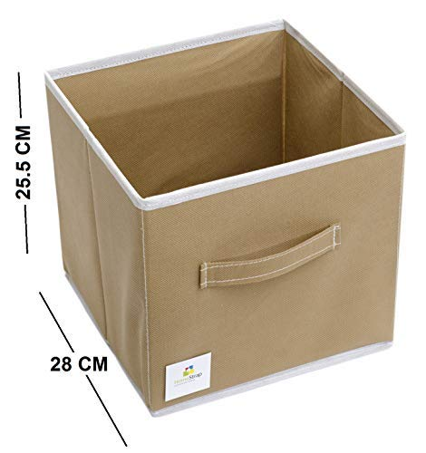 HomeStrap Foldable Storage Cubes/Boxes-Pack of 6 Beige