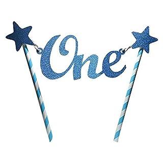 GEZICHTA Tortenaufsatz, einzigartiger Glitzerstern zum 1. Geburtstag, Tortenaufsatz, Wimpelkette, Banner für Geburtstag, Party-Dekoration, blau, Free Size