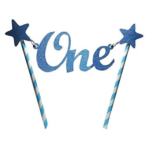 Tortenaufsatz für den ersten Geburtstag, personalisierbar, einzigartiger Glitzer, Stern, zum 1. Geburtstag, Kuchen-Dekoration, Wimpelkette für Baby Junge und Mädchen - Partyzubehör, blau, Free Size (Mädchen Kuchen Baby Geburtstag Ersten)