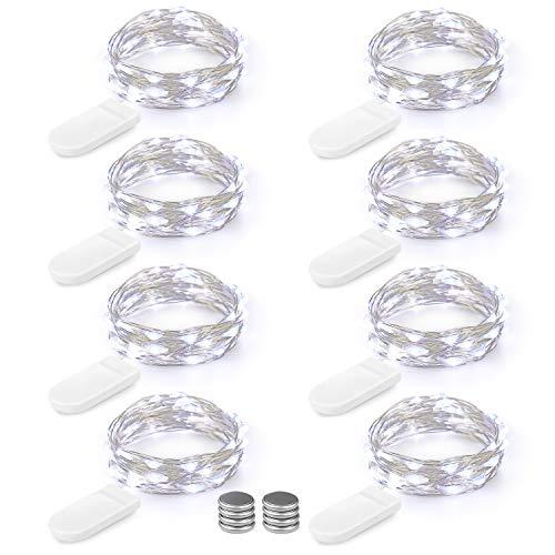LED Lichterkette Batterie 8er 2M 20 LED Innen Micro Silber Batteriebetriebene Lichterkette für Weihnachten, Hochzeit, Party, Schlafzimmer, Tisch Dekoration(Kommen mit 8 Stück Batterien)