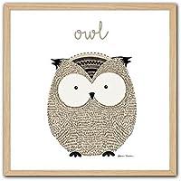 Cuadriman Little Animal Cuadro Owl, Madera, Ocre y Marrón, 27x27x3 cm