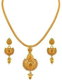 JFL - Traditional Ethnic One Gram Gold Plated Diamond Designer Pendant Set For Women And Girls