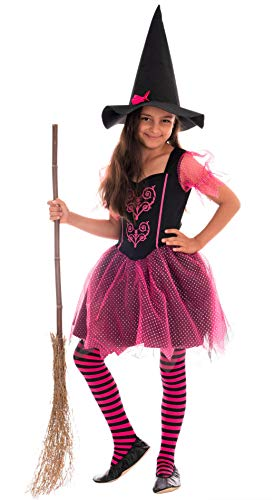 Magicoo märchenhaftes Hexenkostüm Kinder Mädchen pink-schwarz - Kleid & Hut - Gr 92 bis 140 - Halloween Hexe-Kostüm Kind (110/116)