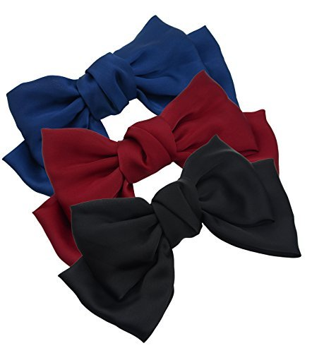 3-Pack Fashion Double-Deck Chiffon Large Solid Color Bowknot Hair Clip Women Girls Headband Hair Bow Accessories (Black Burgundy and Navy Blue) by Thaoya -