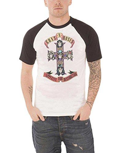 Guns N Roses T Shirt Appetite for Destruction Official Mens White Raglan