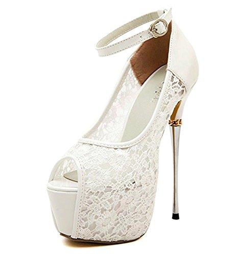 YE Damen Peep Toe High Heels Plateau Stiletto 16cm Absatz Knöchelriemchen Pumps Schuhe (36EU, Weiß)