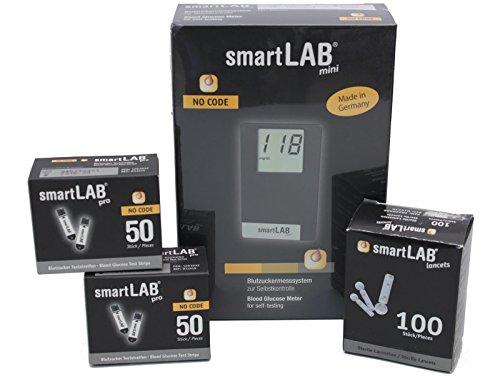smartLAB mini (mg / dL) Monitoraggio del glucosio nel sangue come Bundel | Sistema di monitoraggio del glucosio nel formato di carta di credito ideale per viaggiare. | Monitoraggio del glucosio nel sangue per i diabetici con smartLAB