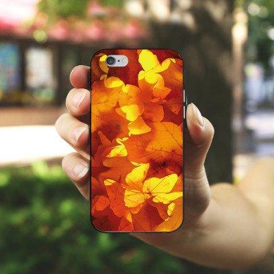 Apple iPhone X Silikon Hülle Case Schutzhülle Herbst Blätter Laub Silikon Case schwarz / weiß