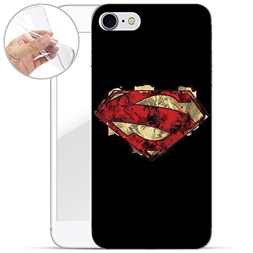 finoo | iPhone 8 Weiche flexible Silikon-Handy-Hülle | Transparente TPU Cover Schale mit Motiv | Tasche Case Etui mit Ultra Slim Rundum-schutz |Superman logo transparent Superman logo red texture