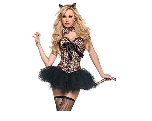 GGT Boutique Women Leopard Deluxe Jungle Cat Corset & Tutu Costume Halloween Fancy Dress (L)
