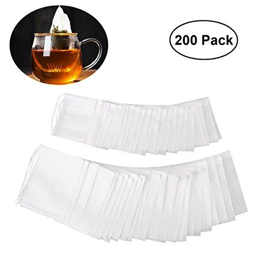 OUNONA 200tlg Teebeutel feine Teefilter Einweg Teabag Drawstring Teebeutel Filterpapier Leere Teebeutel Taschen für lose Blatt Tee Pulver Kräuter 2 verschiedene Größen(9.0cm*7.0cm und 7.0cm*5.5cm)