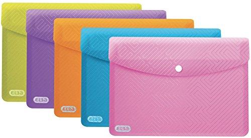ELBA Brieftaschen Urban aus Kunststoff DIN A5 transluzent Packung mit 5 Taschen 5er Pack farbig sortiert Dokumententasche Dokumentenmappe Sammelmappe Postmappe mit Druckknopf