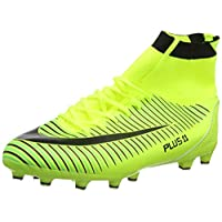 WOWEI Football Boots High Top Spike Soccer Shoes Outdoor Training Unisex Adults Big Child Sneakers