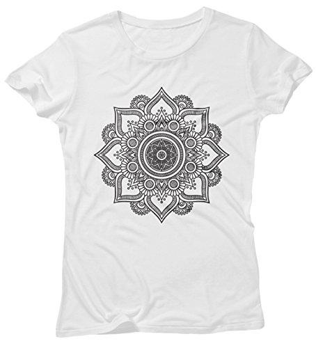 LaMAGLIERIA Camiseta Mujer Mandala Black Print Man02 - Camiseta 100% algodòn, S, Blanco
