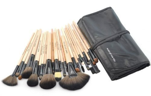 Davidsonne Professionnel Fond de Teint Poudre Blush cosmétiques Maquillage Pinceaux de sac noir Tube en bois (Lot de 24)